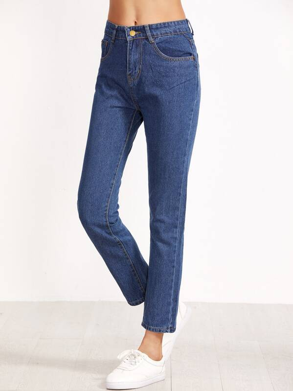 High Waist Straight Jeans, null
