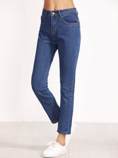 pantalón tiro alto denim-azul