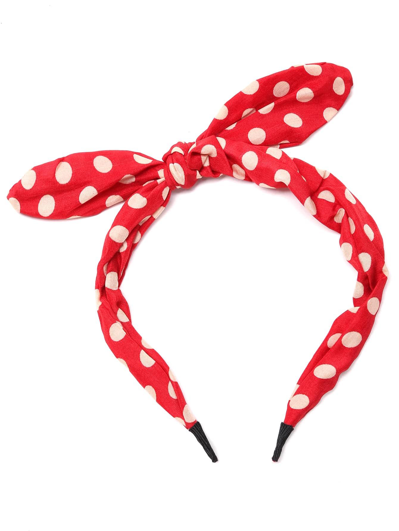 Red Polka Dot Rabbit Ear Design Bow Headband