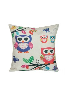 Beige Owl Print Cartoon Square Cushion Cover