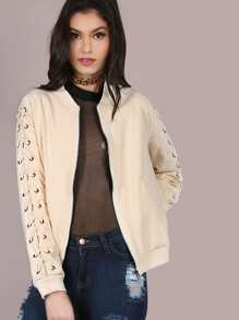 Laced Up Sleeve Bomber Jacket TAUPE