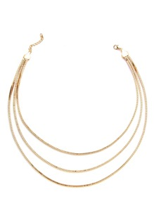 Sparkly Gold Plated Layered Link Necklace