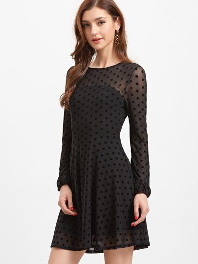 Black Sheer Sleeve Polka Dot Mesh Skater Dress