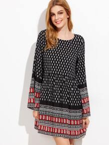 Black Ornate Print Bell Sleeve A Line Dress
