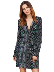 Plunge Neck Long Sleeve Pockets Shirt Dress With Self Tie
