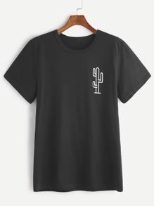 Camiseta de manga corta con estampado de cactaceae - negro