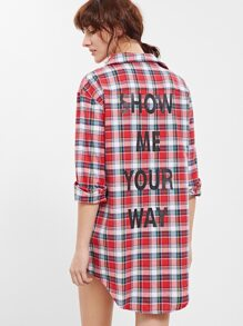 Red Plaid Letter Print Curved Hem Shirt Dress