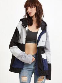 Color Block Drawstring Pockets Hooded Coat