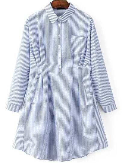 Blue vertical striped shirt dress with pocket shein for Vertical striped dress shirt
