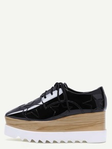 Black Square Toe Star Patch Wedge Oxfords