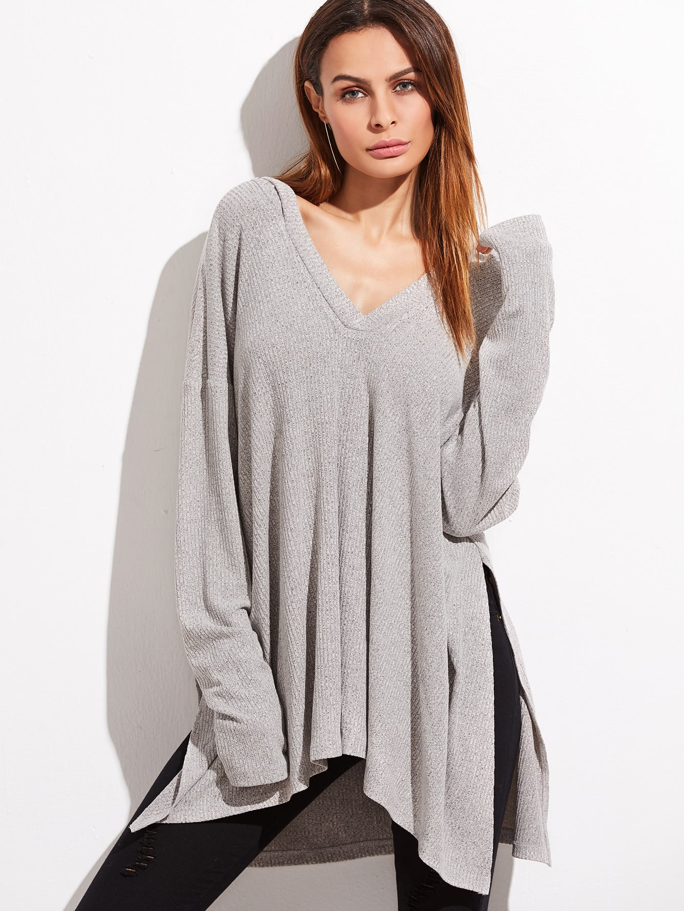 Heather Grey Drop Shoulder Side Slit Hooded Ribbed T-shirt tee161202710