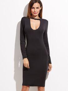 Black Cut Out Front Pencil Dress
