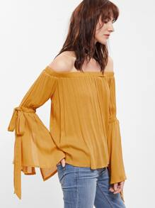 Yellow Belted Bell Sleeve Off The Shoulder Top
