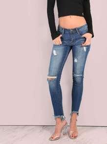 Medium Washed Frayed Dip Hem Skinny Jeans DENIM
