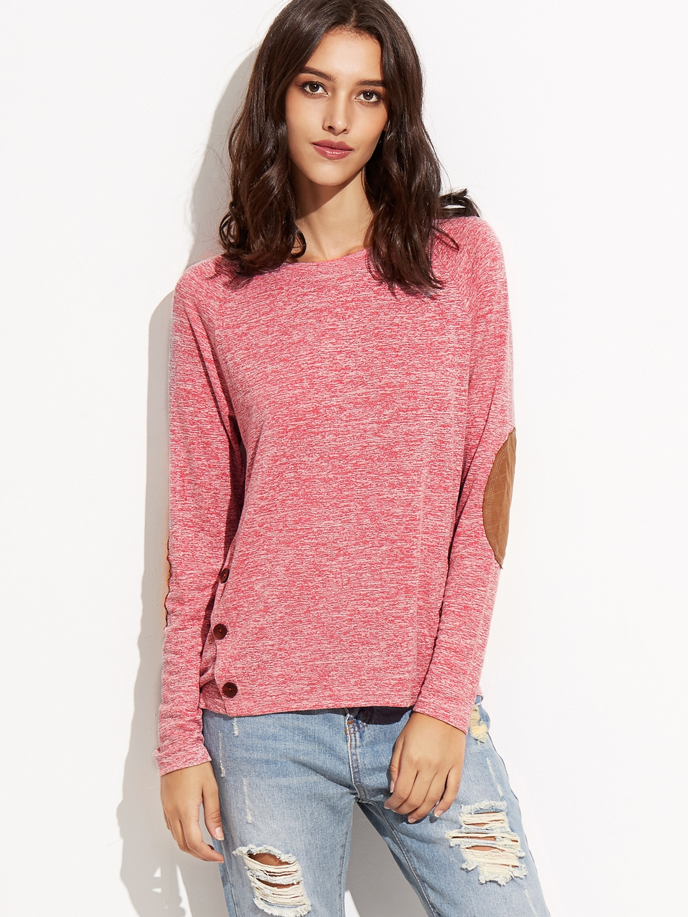 Hot Pink Marled Knit T-shirt With Elbow Patch
