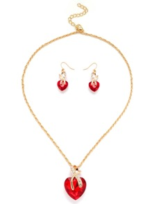 Collection de collier doré forme de cœur en gemme - rouge