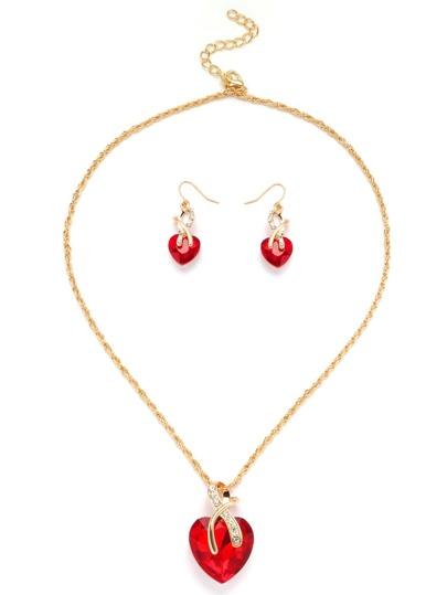 Collection de collier doré forme de cœur en gemme - rouge