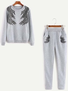 Grey Angel Wings Print Sweatshirt With Pants