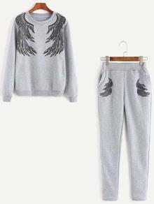 Grey Angel Wings Print Sweatshirt With Pants
