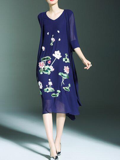 Blue Flowers Applique Pouf Sequined Dress