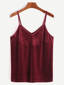 Burgundy Velvet Cami Top