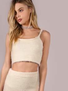 Fuzzy Cami Knit Crop Top CREAM