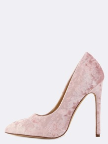 Pointed Toe Crushed Velvet Pumps BLUSH