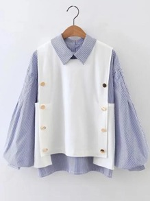 Color Block Striped Lantern Sleeve 2 In 1 Blouse