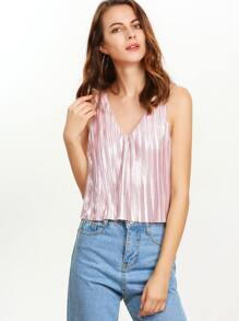 Pink Double V Neck Tank Top