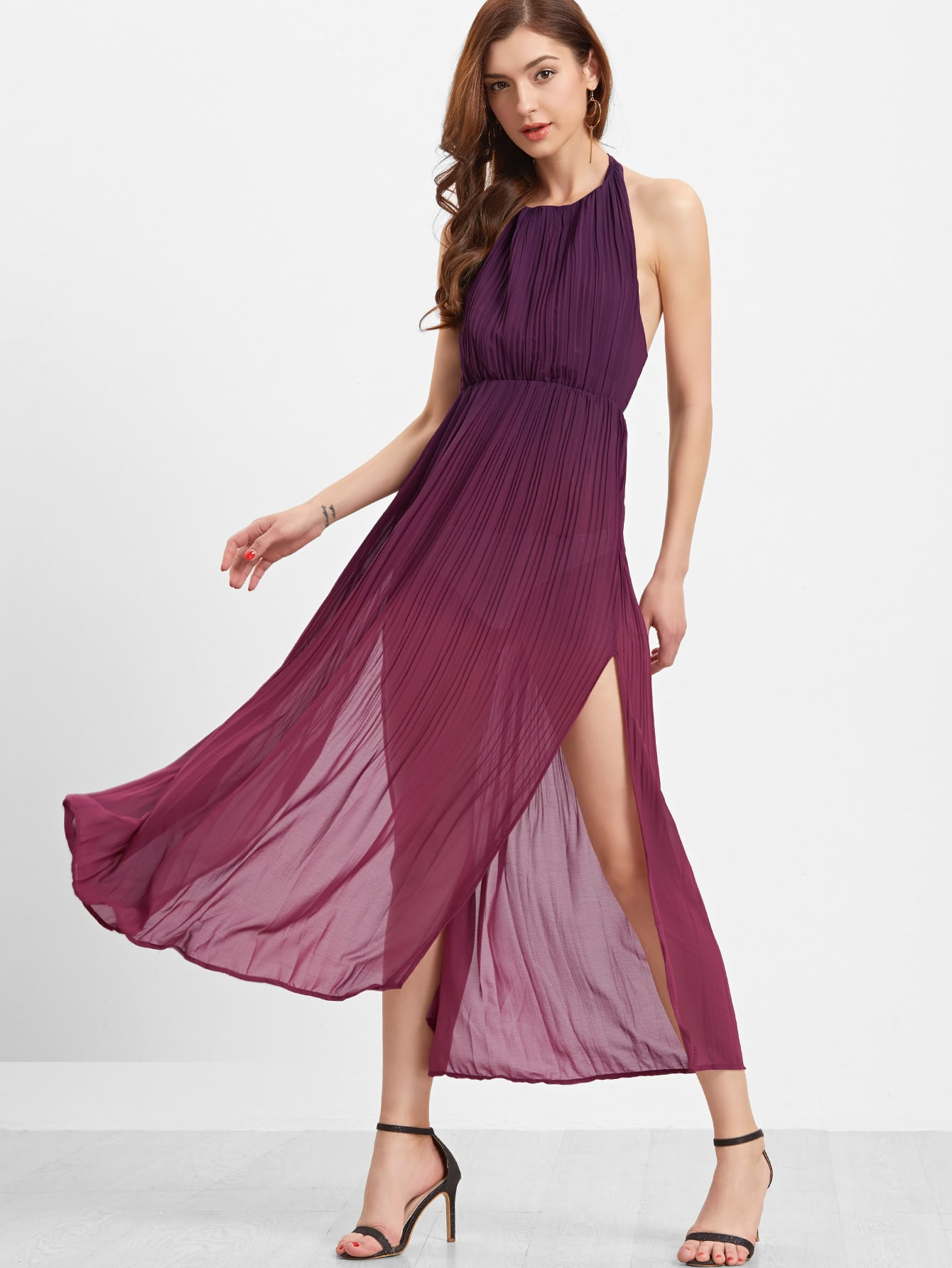 Burgundy Ombre Halter Split Maxi Dress Shein Sheinside