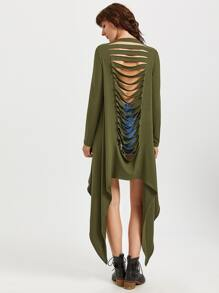Olive Green Waterfall Collar Ripped Back Asymmetric Coat