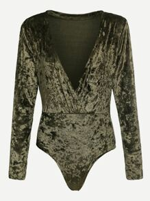 Army Green Deep V Neck Velvet Bodysuit