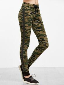 Olive Green Camo Print Contrast Sideseam Skinny Sweatpants