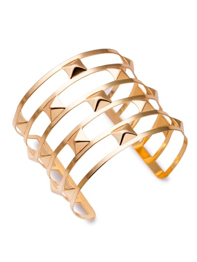 Gold Plated Hollow Out Open Cuff Bracelet