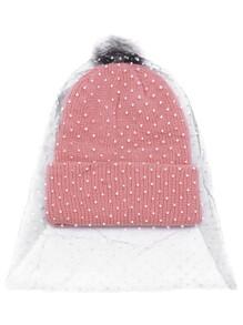 Bonnet tricot à nervures pompom avec maille avec point -rose