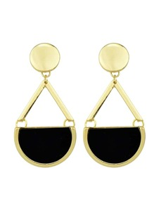 Black Imitation Gemstone Big Drop Earrings
