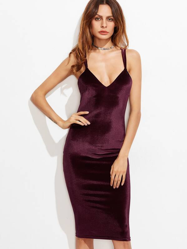Crisscross Back Velvet Cami Dress, Andy
