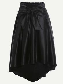 Black Bow Tie Front Dip Hem Skirt