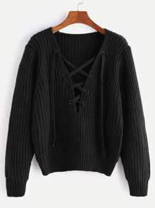 Black V Neck Lace Up Chunky Knit Sweater