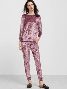 Purple Long Sleeve Velvet Sweatshirt With Pants