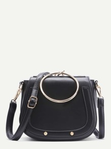 Black Faux Leather Metal Ring Flap Shoulder Bag