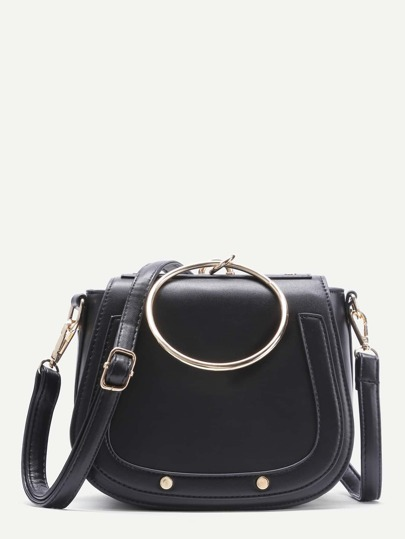 Black Faux Leather Metal Ring Flap Shoulder Bag