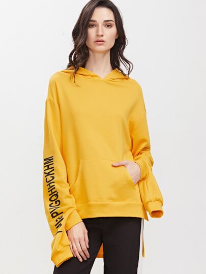 Yellow Letter Print Double Cuff High Low Hoodie With Pocket