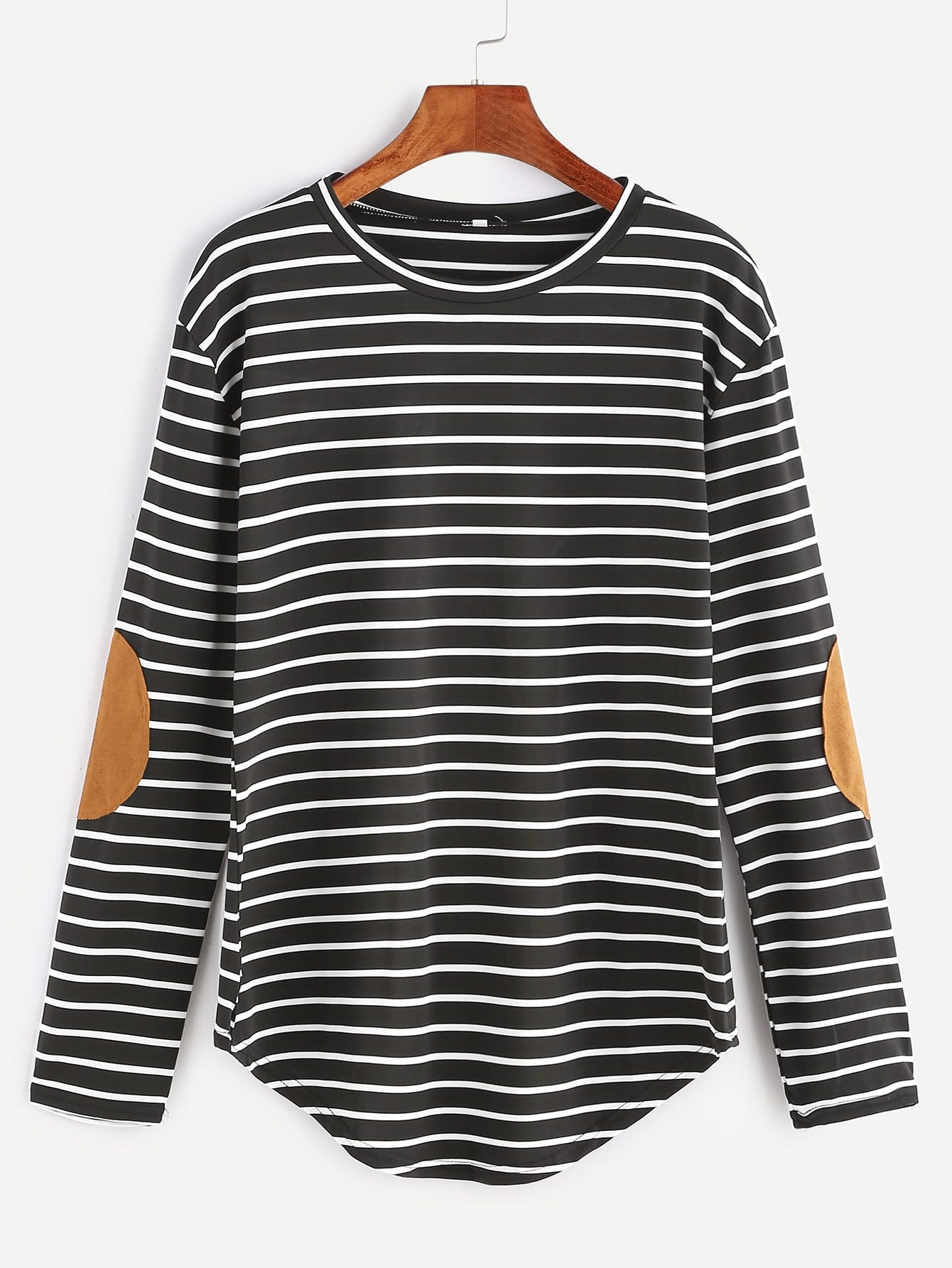 Black Elbow Patch Striped T-shirt striped elbow patch curved hem t shirt
