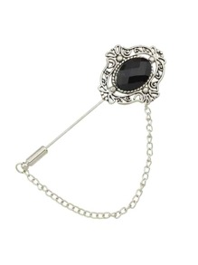 Silver Plated Rhinestone Long Chain Brooches Pin