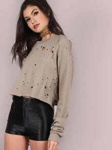 Punctured Backless Cropped Pullover COCOA