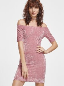 Pink Off The Shoulder Crushed Velvet Dress