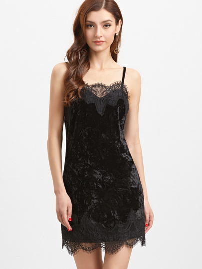 Black Lace Trim Velvet Cami Dress