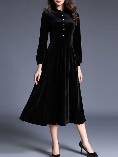 Black Crew Neck Velvet Long Dress