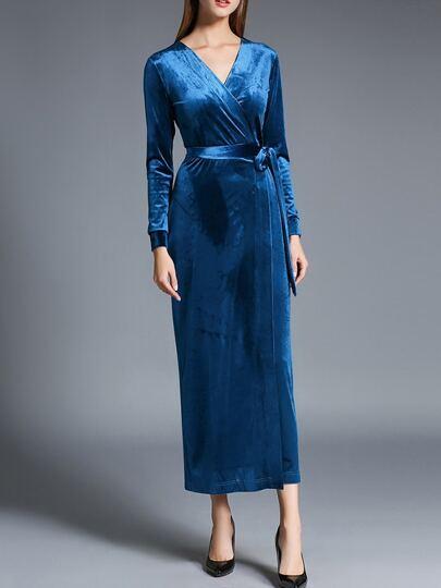Blue V Neck Tie-Waist Velvet Sheath Dress